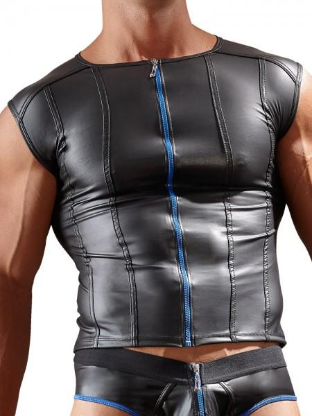 Wetlook-Zipshirt, schwarz/blau