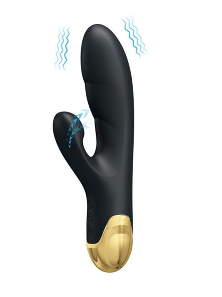 Pretty Love Royal Pleasure Naughty Play: Bunnyvibrator mit Saugfunktion, schwarz/gold