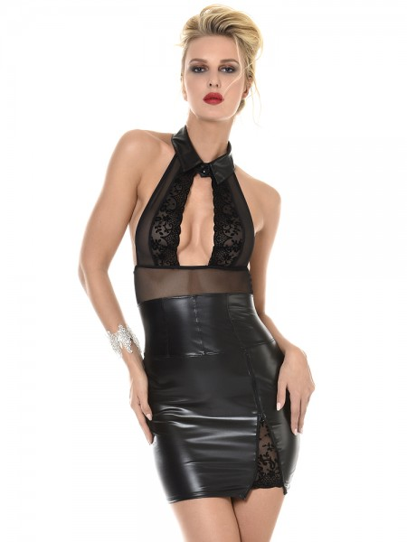 Patrice Catanzaro Filia: Wetlook-Netz-Minikleid, schwarz