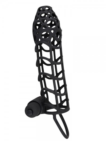 Black Velvet: Vibro-Penismanschette, schwarz