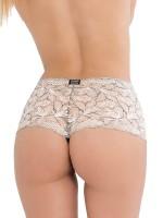 Eros Veneziani Chiara: Ouvert-Stringpanty, schwarz/peach