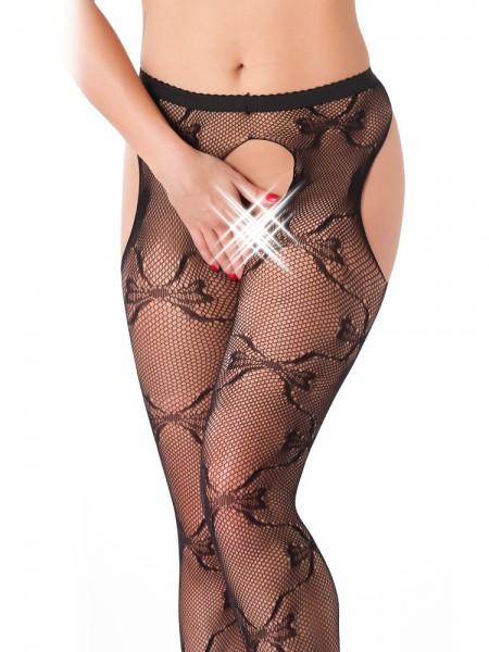 Netz-Strapsstrumpfhose, schwarz