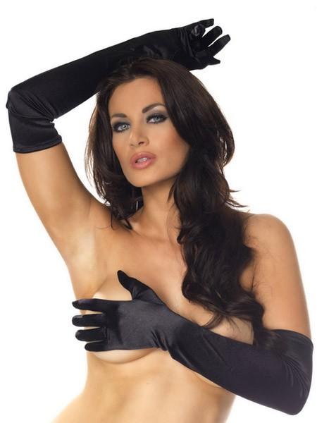 Satinhandschuhe, schwarz