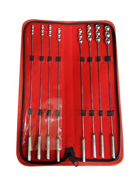 Black Label Bumpy Rosebud Urethral Sounds Set: Edelstahl-Dilatoren-Set, 8-teilig