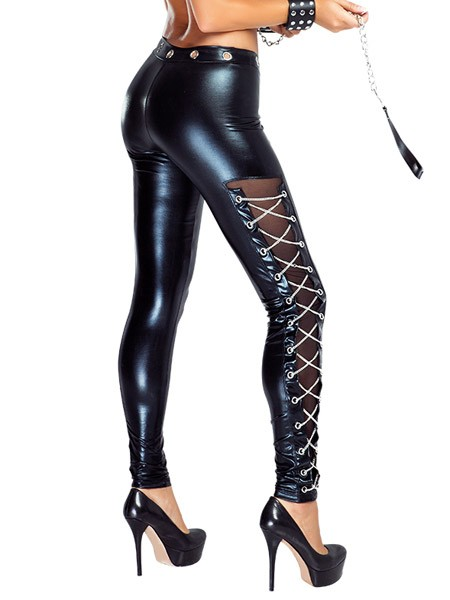 Provocative Sexy Pants: Wetlook-Hose, schwarz