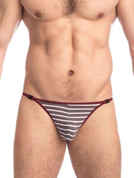 L'Homme Ruby & Graphite: Stripstring, weinrot/grau