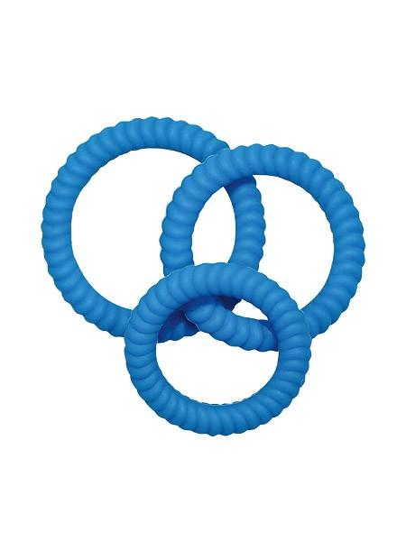 Lust-Trio: Penisringe-Set, blau