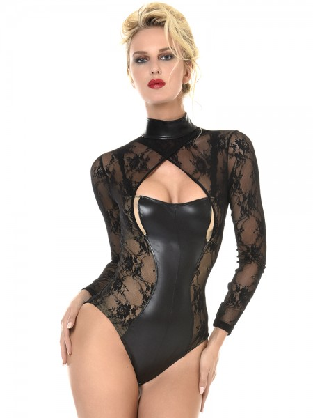 Patrice Catanzaro Effie: Wetlook-Spitzen-Body, schwarz