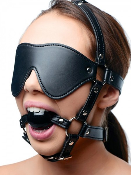 Strict Eye Mask Harness with Ball Gag: Kopfgeschirr mit Knebel, schwarz