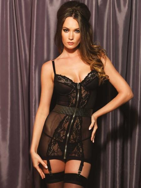 Leg Avenue: Strapskleid, schwarz/gold