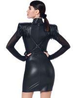 Patrice Catanzaro Roxanne: Wetlook-Netz-Minikleid, schwarz