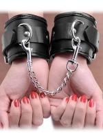 Strict Locking Padded Wristcuffs: Handfesseln, schwarz