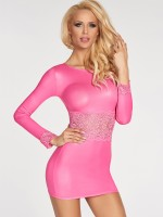 7-Heaven Wetlook-Kleid: Pico, pink