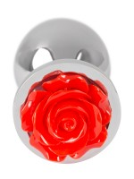 Rose Butt Plug: Aluminium-Analplug, silber