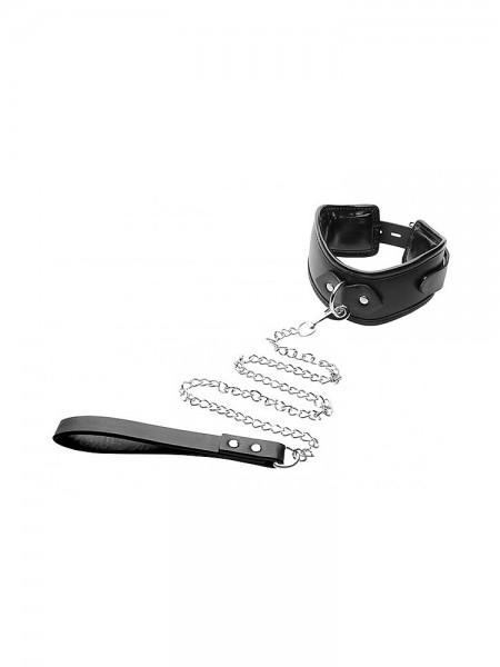 Strict Padded Locking Posture Collar: Halsfessel mit Führleine, schwarz