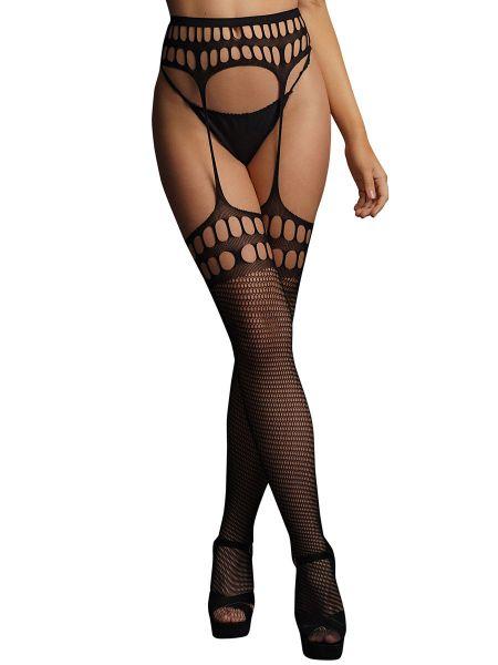 Le Désir Garterbelt Cut-Out Stockings: Ouvert-Netzstrumpfhose, schwarz