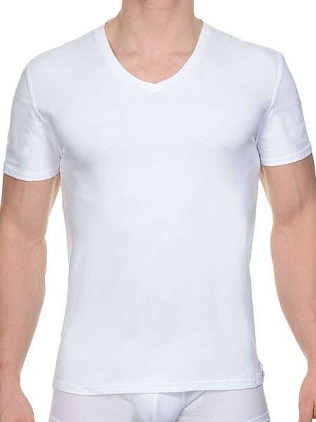 Bruno Banani Cotton Coloured: V-Neck-Shirt, weiß