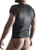 Regnes Fetish Planet TSH017: Wetlook-T-Shirt mit Netz, schwarz