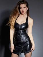 Leder-Minikleid mit Schnürung, schwarz