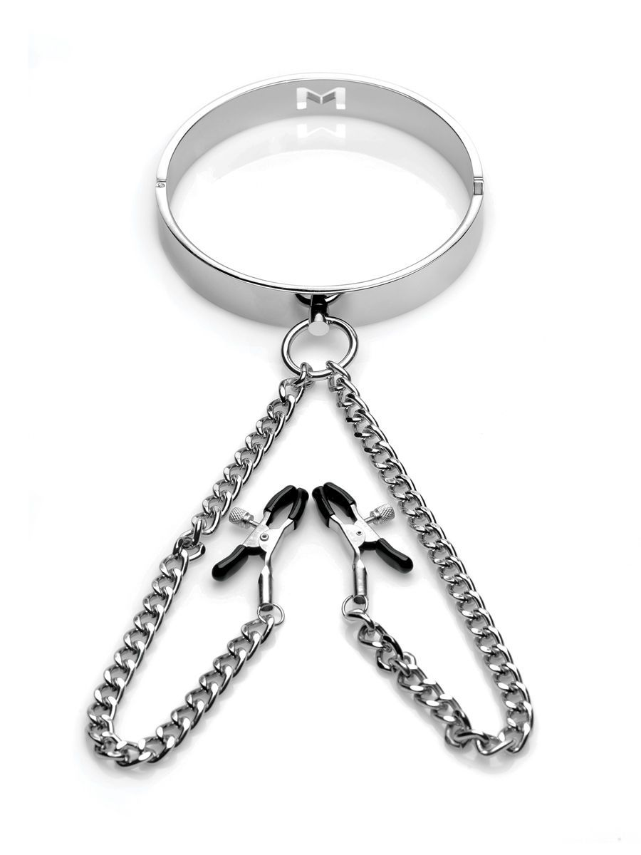 Slave Collar with Nipple Clamps: Halsfessel mit Nippelklemmen, silber