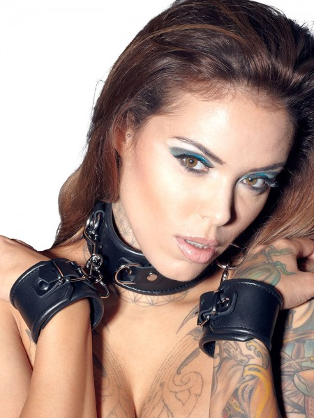 Leder-Hals-Handfessel, schwarz