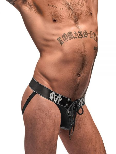Male Power Black Ice: Lace Up Jock, schwarz