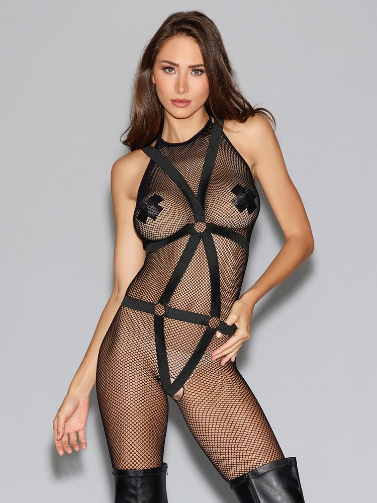 Dreamgirl Ouvert-Catsuit mit Harness, schwarz (One Size)