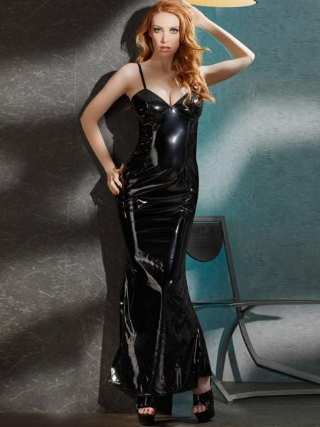 Lack-Abendkleid, schwarz
