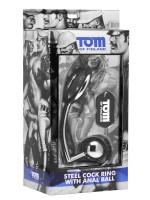 Tom of Finland Edelstahl-Penis-/Hodenring mit Analplug (51mm)