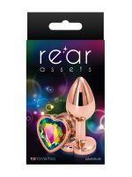 Rear Assets Heart: Aluminium-Analplug, roségold/bunt