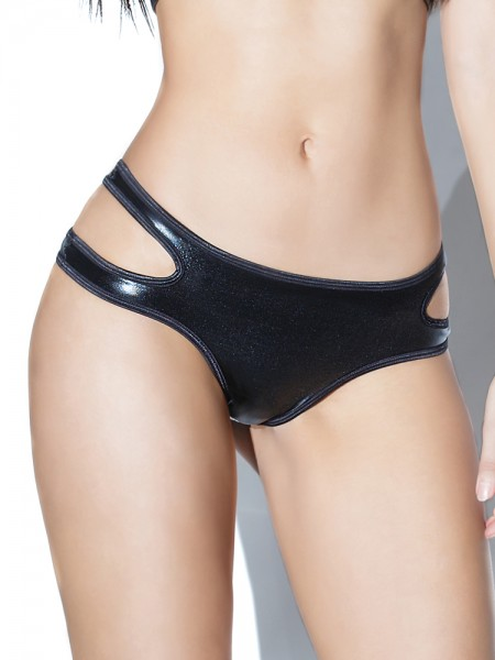 Coquette: Wetlook-Ouvertslip, schwarz