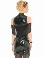 Patrice Catanzaro Kaelys: Lack-Minikleid mit Netzstola, schwarz
