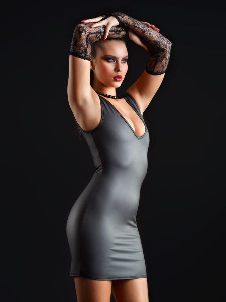 Patrice Catanzaro Tabitha: Neopren-Minikleid, schwarz