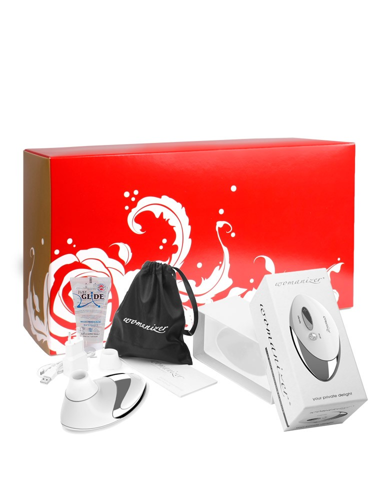 Womanizer Box: Womanizer Pro White + Gleitgel, weiÃ?/chrome