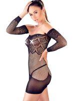 Netz-Minikleid mit Armstulpen, schwarz