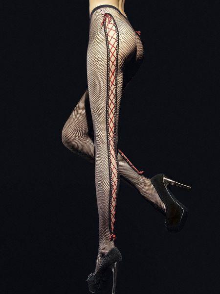 Fiore Invito: Netzstrumpfhose, schwarz/rot