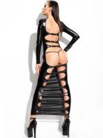 Demoniq Wetlook-Kleid: Dorothea, schwarz