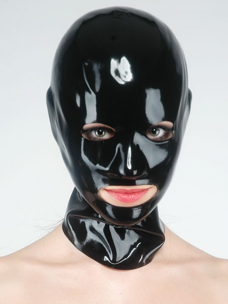 Latex-Kopfmaske mit Öffnungen, schwarz