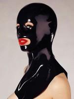 Latex-Kopfmaske mit Öffnungen und Kragen, schwarz