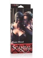 Scandal Lace Hood: Spitzen-Kopfmaske, schwarz