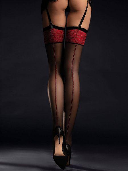 Fiore Scarlett: Strapsstrümpfe, schwarz/rot