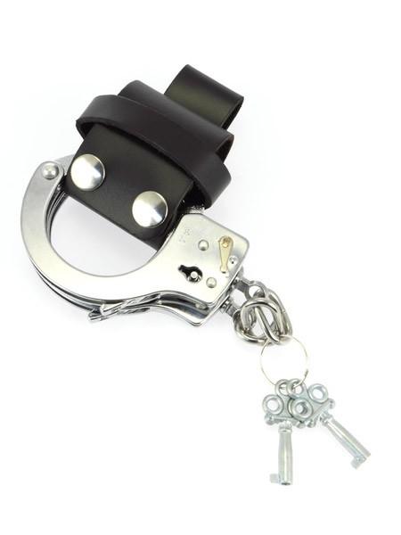 Leder-Handschellenhalter, schwarz