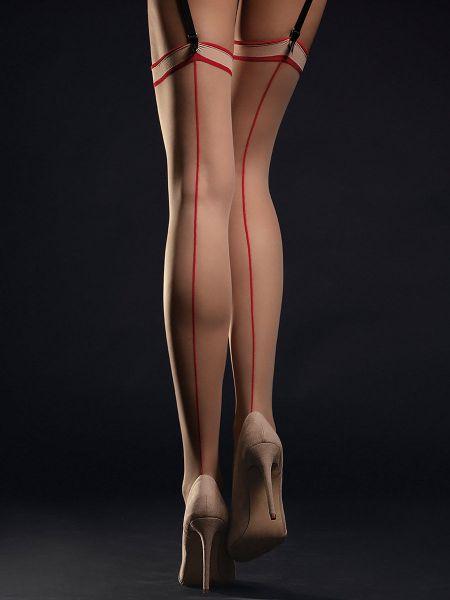Fiore Madame: Strapsstrümpfe, nude/rot