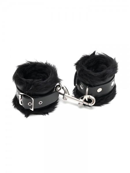 Leder-Handfesseln mit Plüsch, schwarz