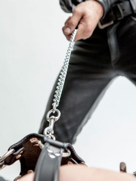 Mister B Dog Leash Short Chain: Führkette, silber/schwarz
