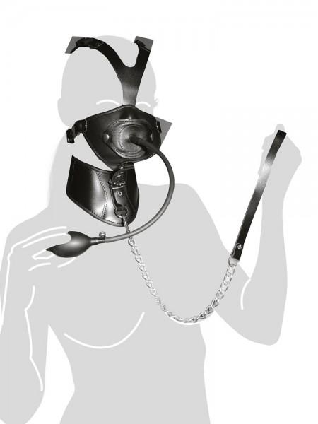 Leder-Kopfgeschirr mit Pumpknebel, schwarz