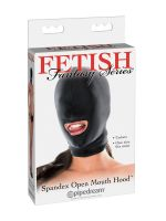 Fetish Fantasy Spandex Open Mouth Hood: Kopfmaske, schwarz