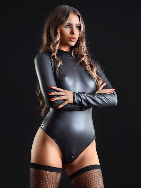Patrice Catanzaro Natacha: Wetlook-Body, schwarz