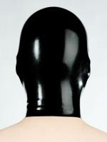 Latex-Kopfmaske mit Mundöffnung, schwarz