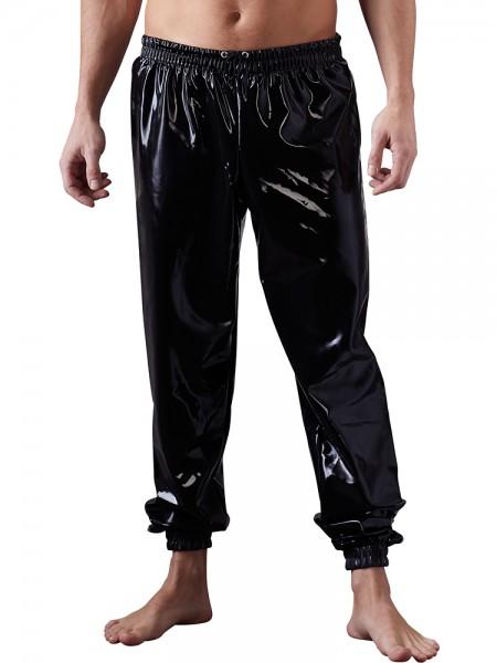 Latex-Jogginghose, schwarz